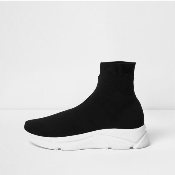 Black Knitted Sock Runner Sneakers
